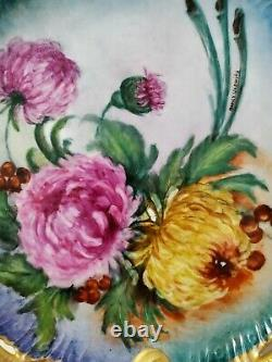 Limoges Pierced Cabinet Assiette Peinte À La Main Avec Des Fleurs Et Signé 10.25