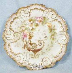 Limoges Plaque Cabinet Ak CD Peint À La Main Fleurs Roses D'or Lattice Klingenberg