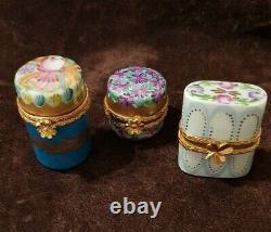 Limoges Porcelaine Miniature Peinte À La Main Ensemble De 12 Boîtes Rare Nouveau