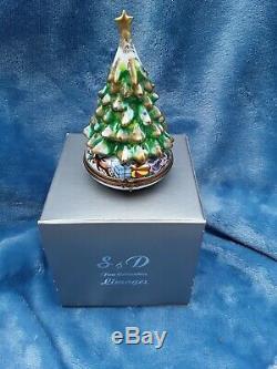 Limoges Porcelaine Peinte À La Main Sapin De Noël Coffret Cadeau