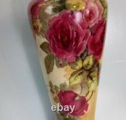 Limoges Quality Antique 16 Vase Signé. Daté De 1911. Roses Peintes À La Main