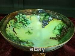 Limoges Raisins Peint À La Main Punch Bowl / Avec Base Centerpiece