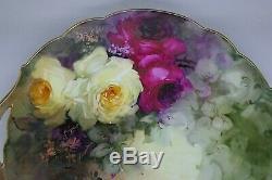 Limoges Rare Roses Peinte À La Main Listed Artiste Burdoin Antique C. 1902 Plat À Gâteau