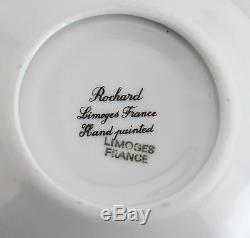 Limoges Rochard Soupière Et Plat Rose Et Or 2 Pcs Trinket Box Peint À La Main