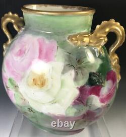Limoges Roses Peintes À La Main Dragon Poignées Vase