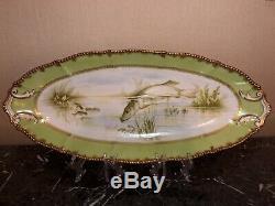 Limoges Set Elite Painted Fish Main. Platter, Plaques Dix, Saucière
