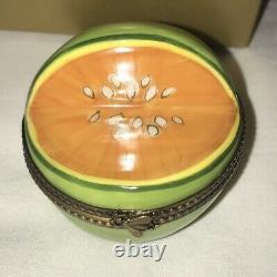 Limoges Signé Fa Peint Peint À La Main Fruit Principal Orange Melon Boite À Boire Insecte