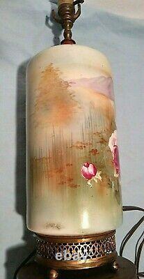 Limoges Style Victorien Peint À La Main Lampe De Table Émaillée Avec Des Roses Porcelaine 22