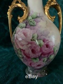 Limoges T & V Peinte À La Main Vase Poignées Gilt