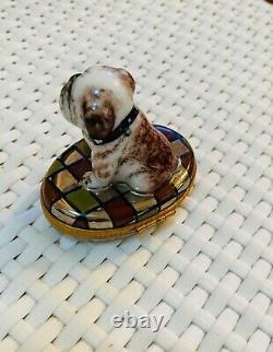 Limoges-france Porcelaine Peinte À La Main Bulldog Trinket Box Ltd Ed. Signé/numéroté