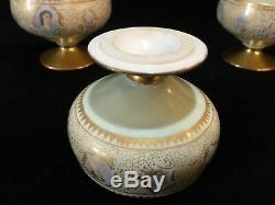Lot De 5 Gobelets Vintage En Porcelaine Doré Et Peints À La Main, 3 Diam. X 2 1/2 De Hauteur