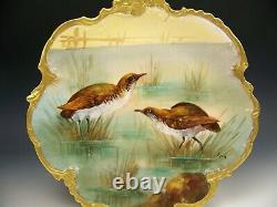 Lovely Limoges Hand Painted Game Birds Gold Gilt Plaque Artiste Signé