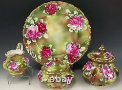 Lovely Nippon Main Peint Roses Or Teaset Pot Creamer Chargeur De Sucre