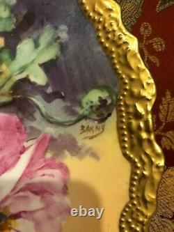 Magnifique Antique Comte D'artois Limoges France Peint À La Main Plaque Murale Signée