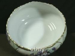 Magnifique Antique Limoges France Porcelaine Peinte À La Main Grand Bol Floral Footed