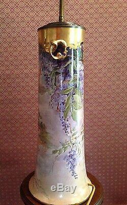 Magnifique Lampe Femme Vase À Glycines Limoges Chou Peinte À La Main