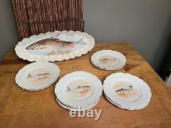 Magnifique Limoges Fish Set Serving Platter /plates Maintenant 9-plates