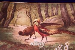 Magnifique Plateau De Plateau En Cobalt Français Peint À La Main De Limoges Avec Oiseaux Exotiques