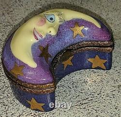 Magnifique Rochard Limoges France Peint À La Main Moon Trinket Pill Ring Box