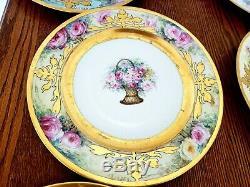 Magnifiques Assiettes Peintes À La Main De Limoges Signées Roses Dorées