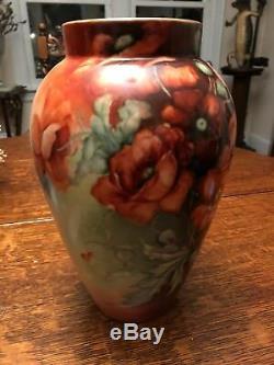 Magnifiques Coquelicots Vase Limoges Peint À La Main