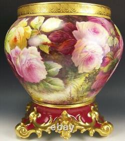 Magnifiques Roses Flottantes Peintes À La Main De Limoges Lilas Grand Jardiniere & Base