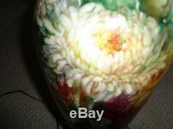Main Antique Peint Lampe De Table Vase En Porcelaine De Limoge Français De Base Mamans Feuilles Mu