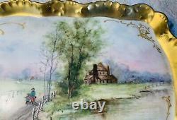 Merveilleux Limoges France Peint À La Main Scène D'été Mère Enfant Chien Gold Plateau