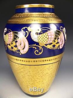 Motif Antique Bordures Peintes À La Limoges Vase Bleu Cobalt