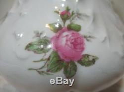 Occaion Limoges Chocolat Pot Et 4 Tasses Peint À La Main Roses Vert Et Des Marques Rouges