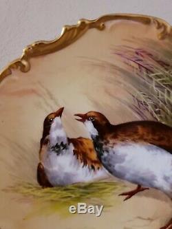 Oiseau Jeu Peint À La Main 11.5 Plaque Chargeur Coronet Limoges France Signe