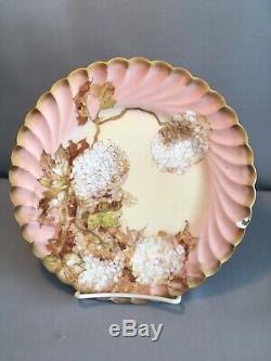 Painted Antique Signée À La Main Franz A. Bischoff Limoges Plate Hortensias Collector