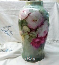 Painted Antique Vintage Main Limoges Roses Sur Énorme Bavière Rosenthal Vase