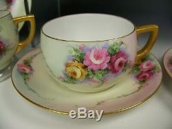 Painted Roses Colorées À La Main Antique Tea Set Pot Creamer Sucre Coupes & Saucers