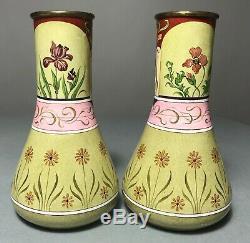 Paire Antique Art Nouveau En Laiton Peint À La Main Vase Limoges Émail / Mucha Femme