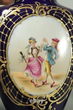 Paire Antique Français Vases Cobalt Blue Hand Painted Paris Porcelaine Limoges