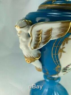 Paire D'urnes En Porcelaine De Putti, Ange, Chérubin / Ange, Peint À La Main, France