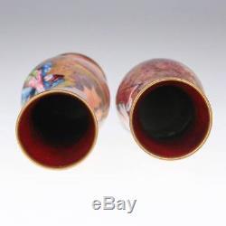 Paire De Vases En Email Peintes A La Main Ancienne 20c 1910