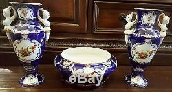 Paire De Vases En Porcelaine De France Limoges Ormolu 22 Kt Peints À La Main & Bol Assorti