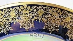 Paire Plaque D'armoire Peinte À La Main, Chargeur, Porcelaine, France, Bleu Cobalt