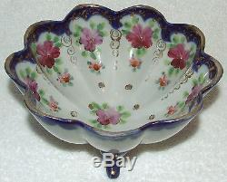 Passoire Passoire Antique Passoire Porcelaine Peinte À La Main Or Cobalt