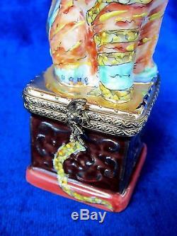 Peint À La Main De Dragon Chinois De Limoges Foo Chien France Marque Nib Porcelaine À Charnière