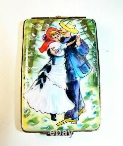 Peint Main Limoges Pierre Renoir Danse Au Bougival Enamel Trinket Box Avec Easel