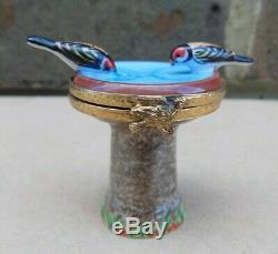 Peinte À La Main Limoges Artoria Bird Bath Box Trinket