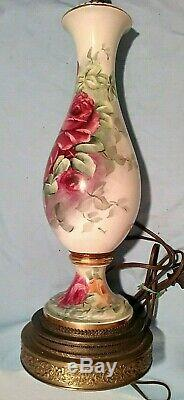Peintes À La Main Signée Victorienne Limoges Style Porcelain Table Lamp 2' Roses Floral