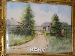 Peinture Originale Peinte À La Main Sur Porcelaine Française T & V Limoges Plaque