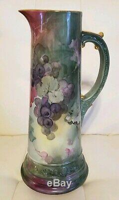 Pichet Antique Tankard Limoges Grapes Grand 14,5 Superbe! Peinte À La Main