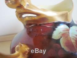 Pichet De Porcelaine Pickard En Porcelaine Peinte À La Main Antique Signé
