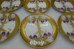 Pickard & Gda Limoges Peint À La Main Art Nouveau C. 1905 Iris Cake Plate Set Fuchs