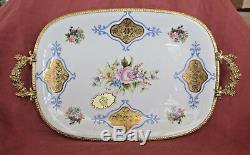 Pinte A La Main Porcelaine De Limoges Main Service Painted Plateau Avec Poignées D'or